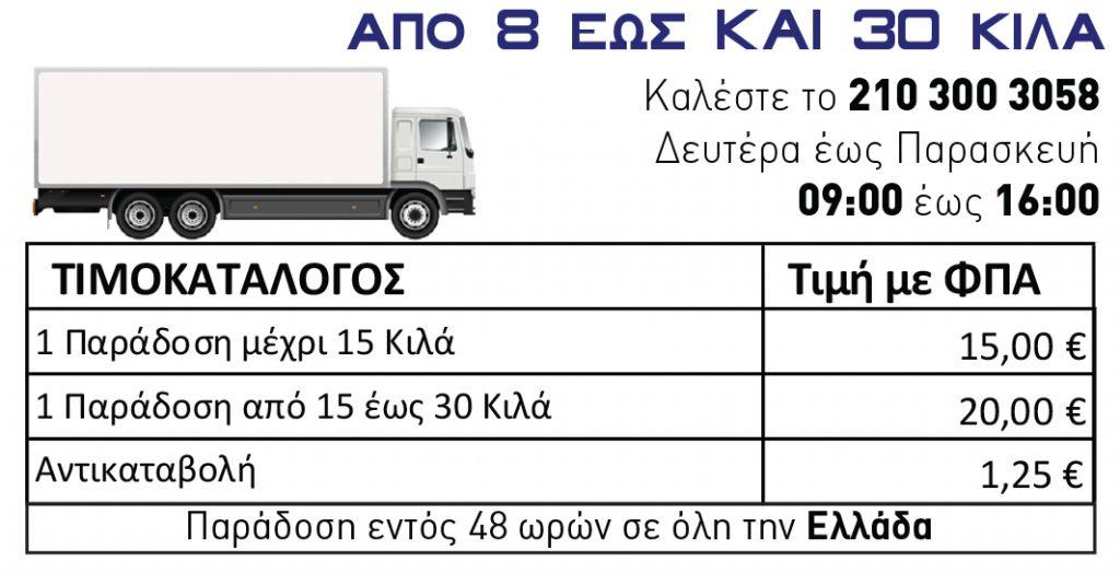 Παράδοση Τώρα - Φορτηγά από 8 έως 30 κιλά